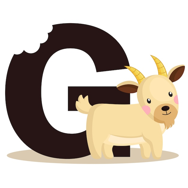 G for goat Premium Vector