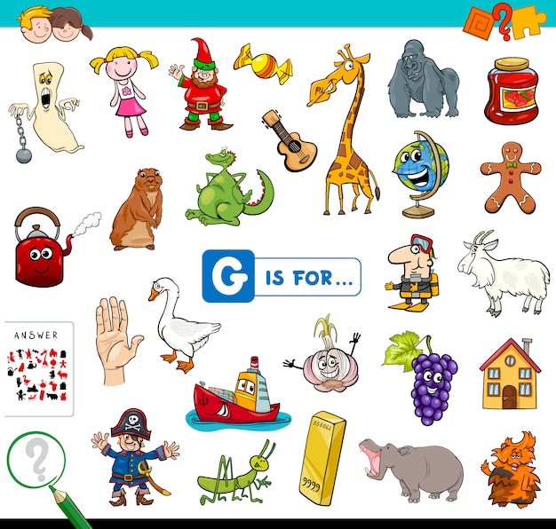 G is for educational game for children Premium Vector