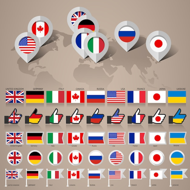 Флаги g8 с картой Premium векторы