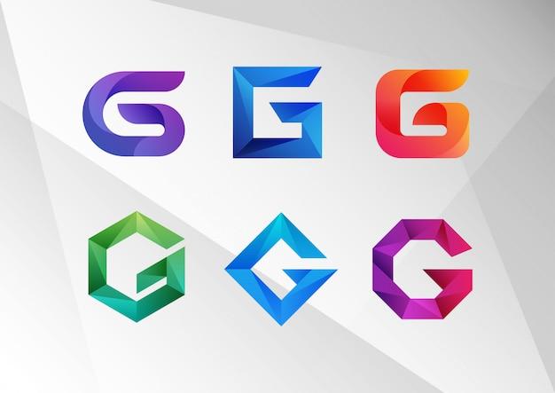 Современный абстрактный градиент g логотип набор Premium векторы