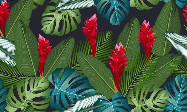 シームレスパターン熱帯の葉生gの花 Premiumベクター