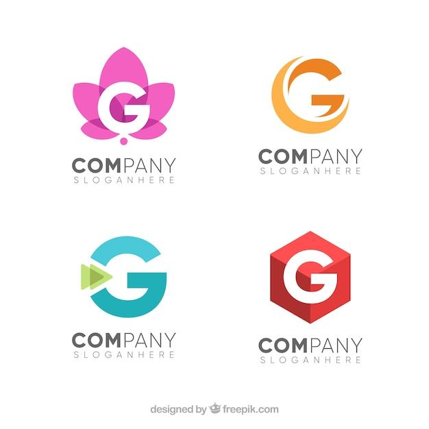Пакет букв g логотипов Бесплатные векторы