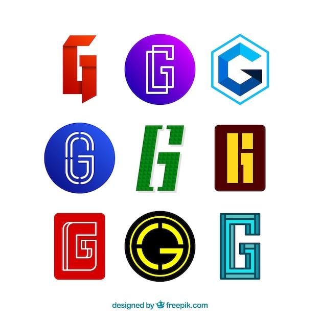Пакет современных и абстрактных логотипов буквы «g» Бесплатные векторы