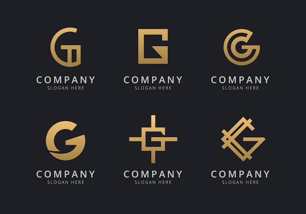 Шаблон логотипа инициалы g с золотистым стилем для компании Premium векторы