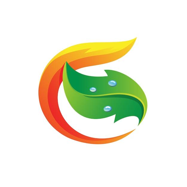葉のロゴと文字g Premiumベクター