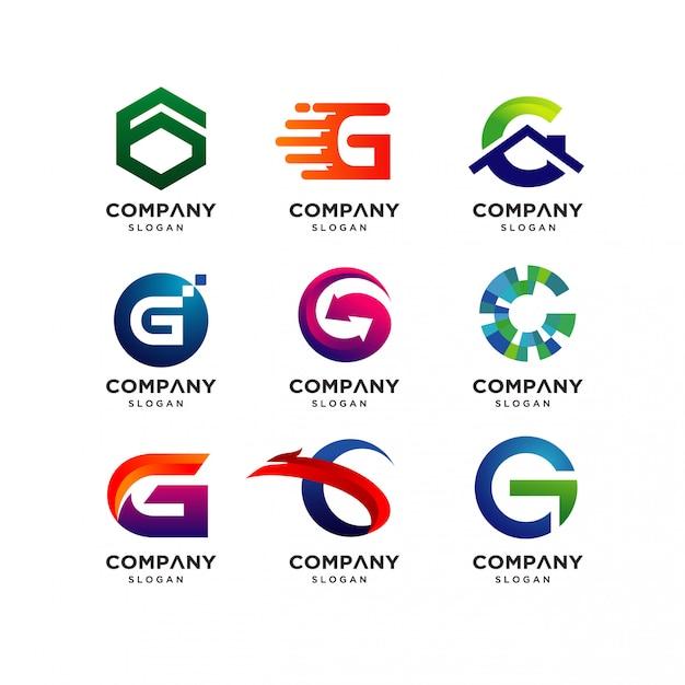 手紙gのロゴのデザインテンプレートのコレクション Premiumベクター