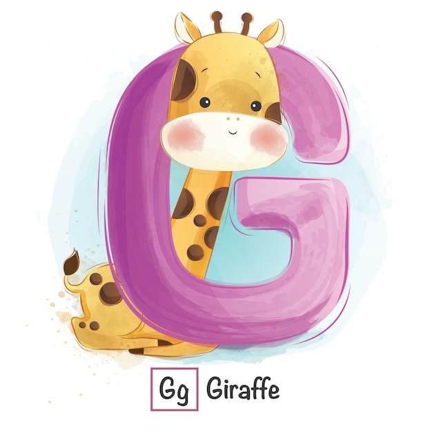 アルファベット動物 -  g Premiumベクター