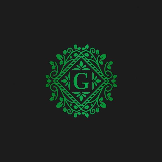 Векторный логотип дизайн шаблона и буква g эко цветы Premium векторы