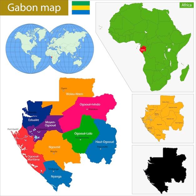 Gabon map Vector Premium Download