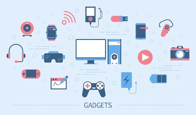 가제트 개념. 디지털 기술의 아이디어. 컴퓨터 및 휴대 전화, 카메라 및 스마트 시계. 다채로운 아이콘의 집합입니다. 삽화 프리미엄 벡터