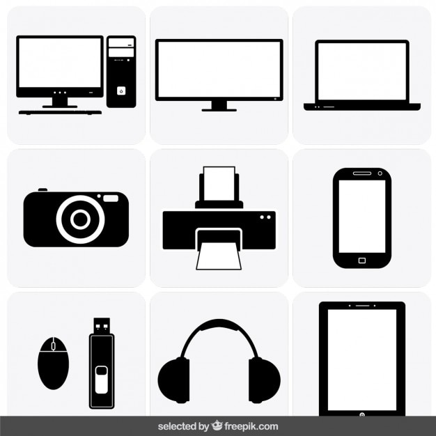 Gadget icons collection Free Vector