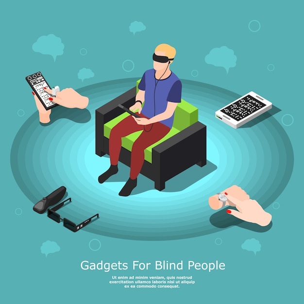 Gadgets for blind people Free Vector