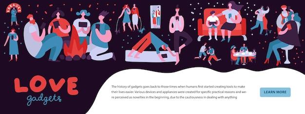 Illustrazione dipendente dai gadget con persone che non riescono a staccarsi dagli smartphone Vettore gratuito