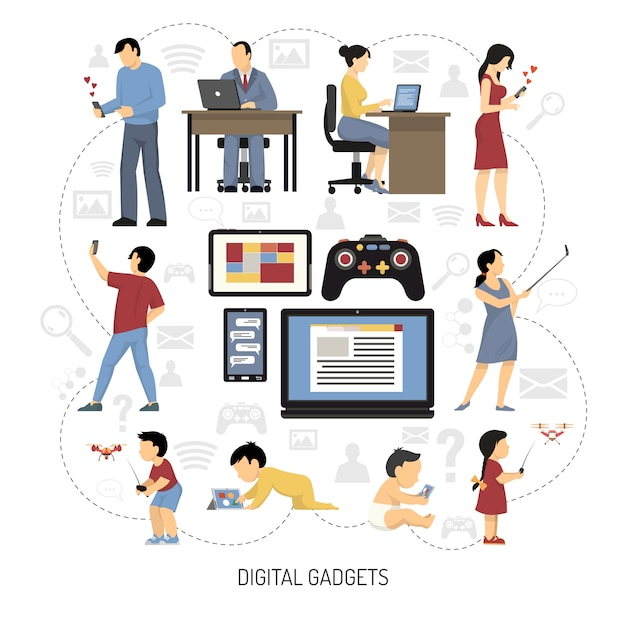 Gadgets for everydays composition Free Vector