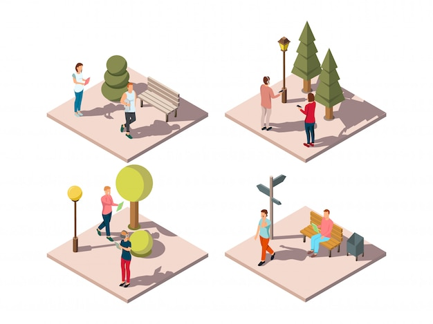 Gadgets people isometric composition with urban park visitors reading texting listening to music on the go vector illustration Free Vector