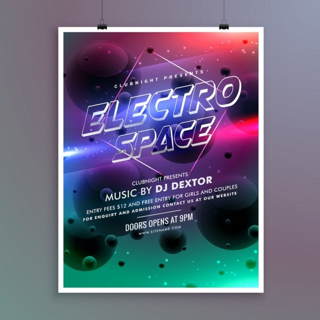 Galactic poster for a party Free Vector