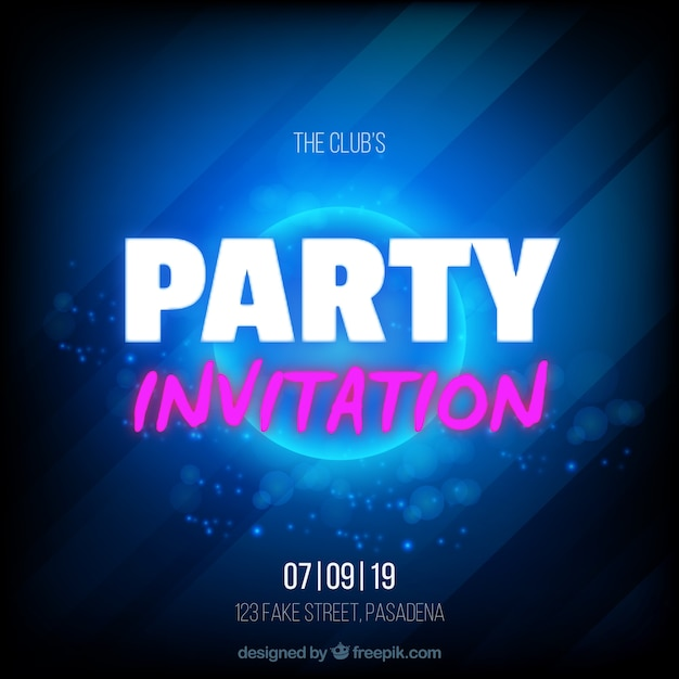 Galactic style party invitation Free Vector