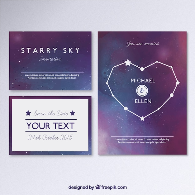 Galactic wedding invitation Free Vector