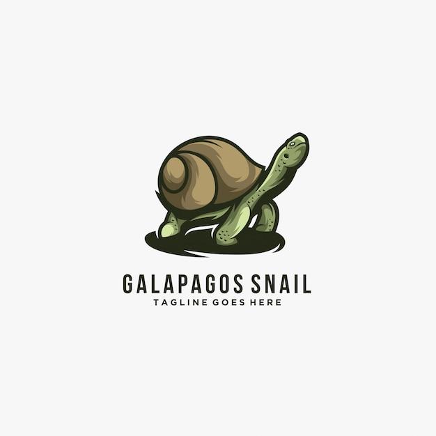Галапагосские острова с улиткой позе иллюстрации логотип. Premium векторы