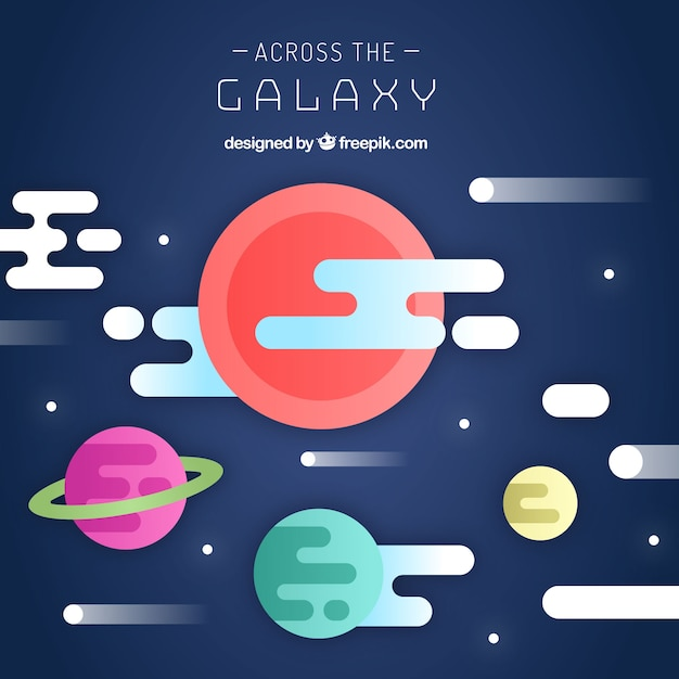 Galaxy background in flat design