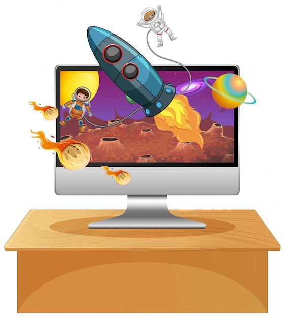 Галактика фон на экране компьютера Бесплатные векторы