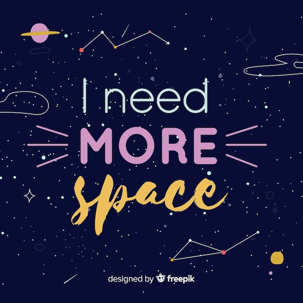 Galaxy background and quote design Free Vector