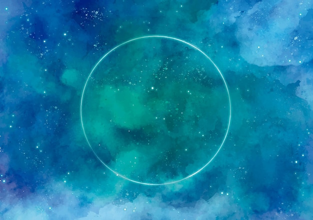 Galaxy background with circle in neon Free Vector