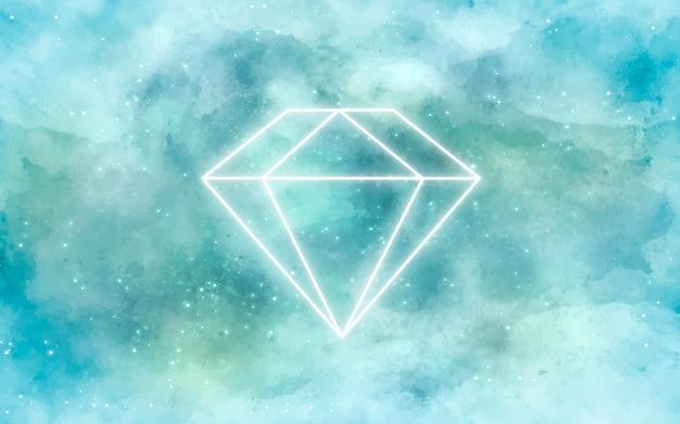 Галактика фон с бриллиантом в неоне Бесплатные векторы