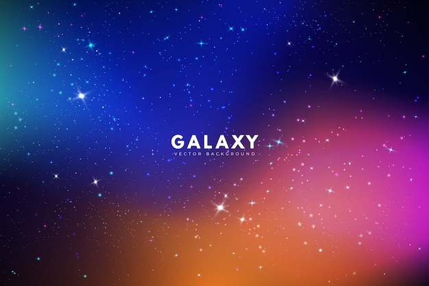 Galaxy background with different colors Free Vector