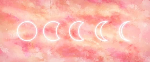 Галактика фон с фазами луны Бесплатные векторы