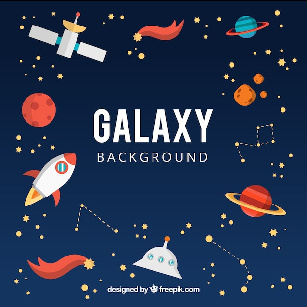 Galaxy background with planets and other elements Free Vector