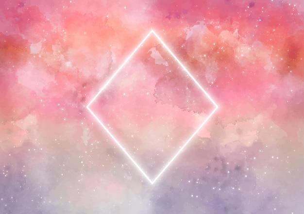 ネオンの菱形と銀河の背景 無料ベクター