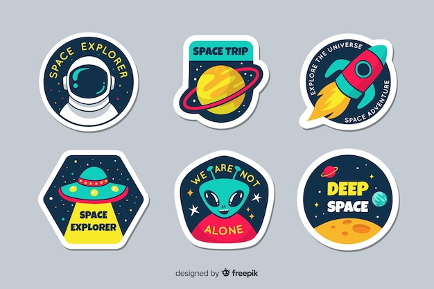 Galaxy badge collection pack Free Vector