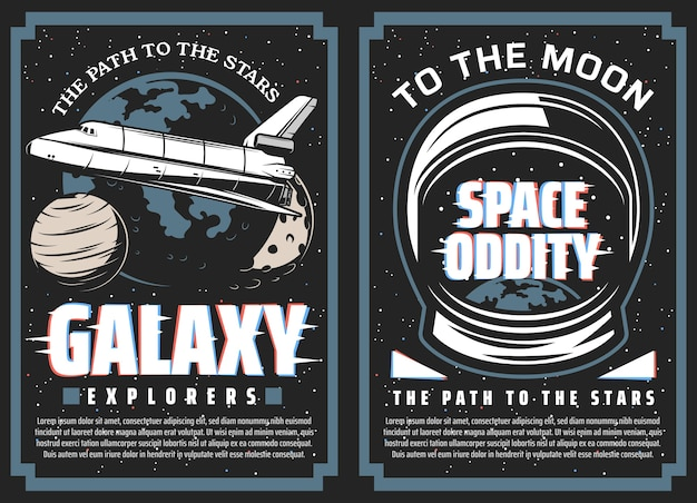 銀河探検家、星への宇宙旅行バナー。銀河、太陽系の惑星、宇宙飛行士の宇宙服のヘルメットを飛行するスペースシャトルのオービター。ムーンプログラムポスター Premiumベクター