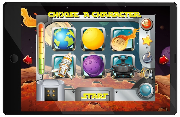 Galaxy game on tablet device Free Vector