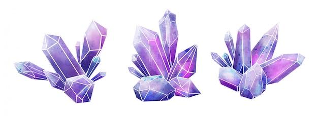 Коллекция драгоценных камней galaxy, влажные акварельные кристаллы, рисованной Premium векторы