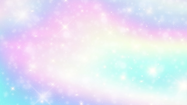 Galaxy holographic fantasy background. Premium Vector