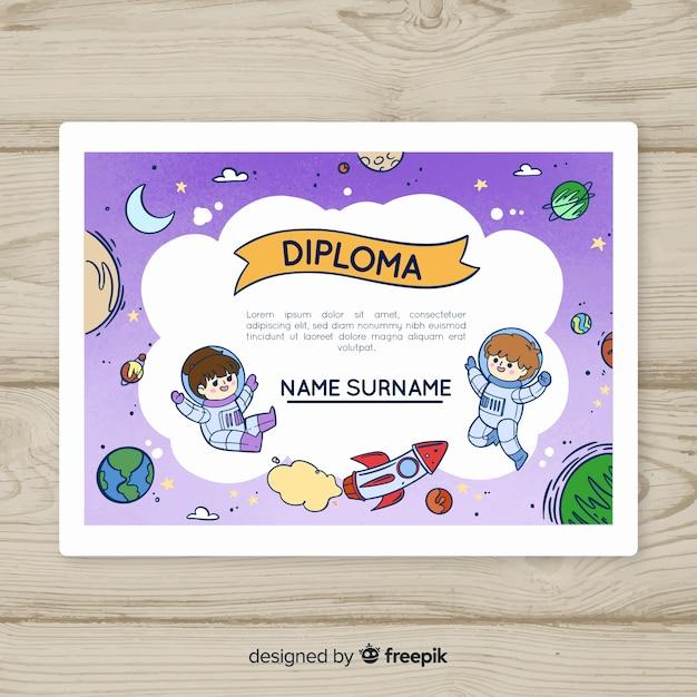 Galaxy kid diploma template Free Vector