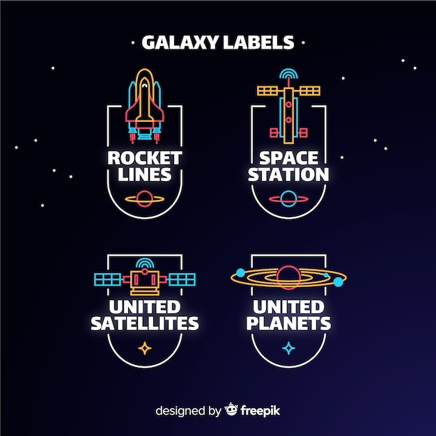 Galaxy label collection Free Vector