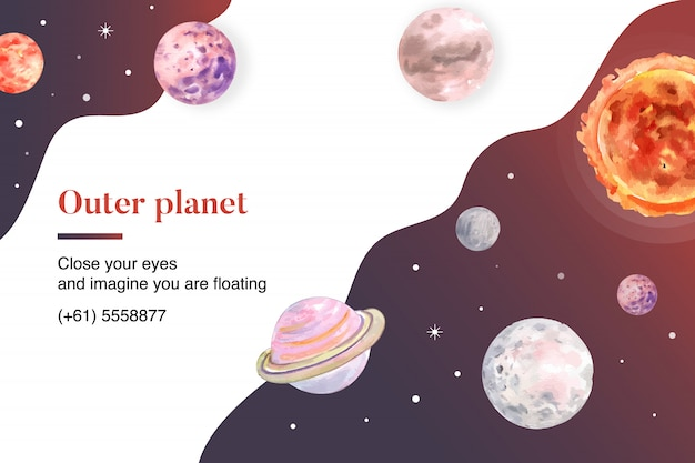 Galaxy planets watercolor illustration. Free Vector