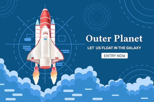 Galaxy  rocket, cloudy watercolor illustration. Free Vector