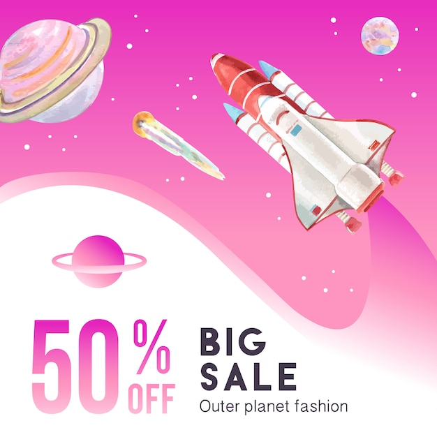 Galaxy social media post with planet and rocket watercolor illustration. Free Vector