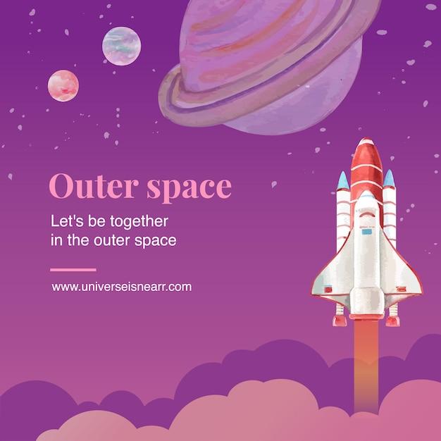 Galaxy social media post with rocket, saturn watercolor illustration. Free Vector