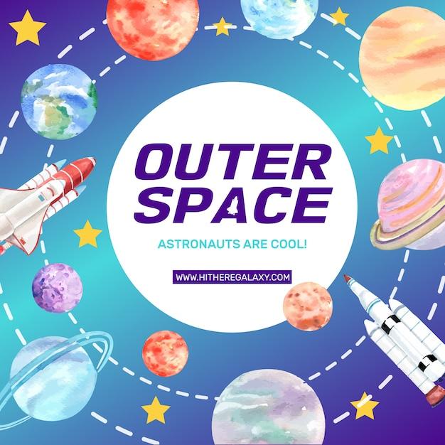 Galaxy social media post with rocket, solar system watercolor illustration. Free Vector