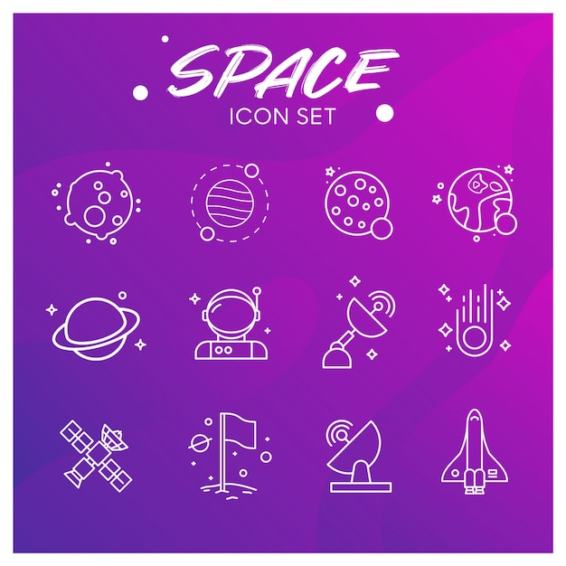 Galaxy and space icons set Premium Vector