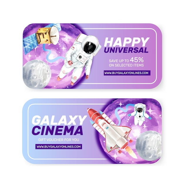 Galaxy ticket template with astronaut, rocket, satellite watercolor illustration. Free Vector