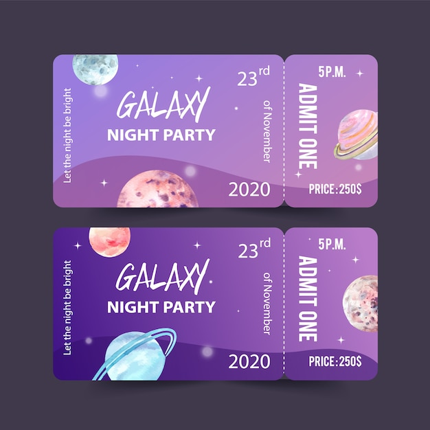 Galaxy ticket template with planets watercolor illustration. Free Vector
