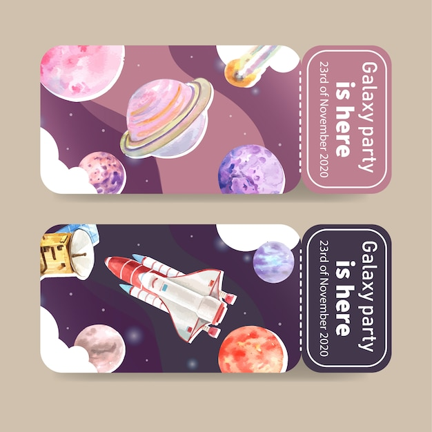 Galaxy ticket template with rocket, satellite, planet watercolor illustration. Free Vector