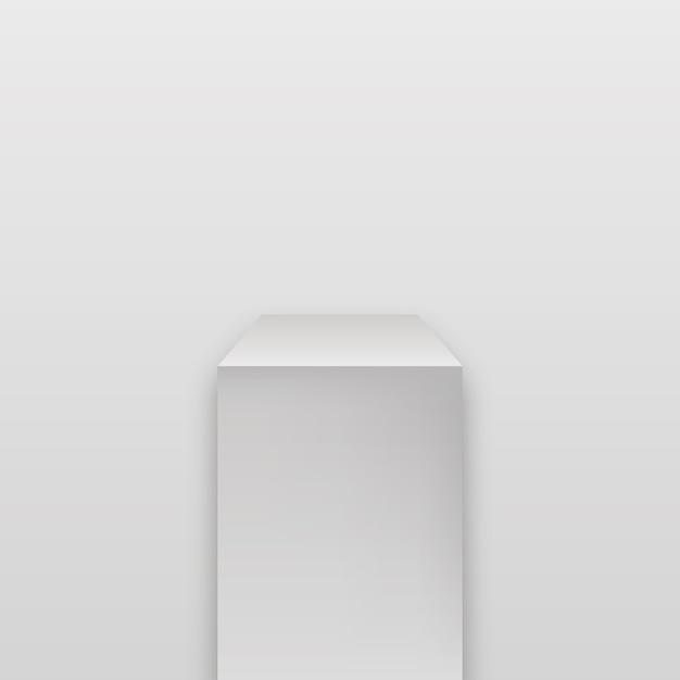 갤러리 기하학적 빈 제품 스탠드. 박물관 무대. 현실적인 큐브 연단. 프리미엄 벡터