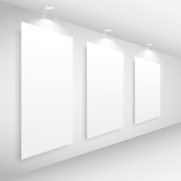 Gallery interior with picture frame and lights Vector | Free Download